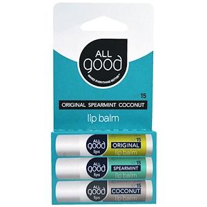 Ол Гуд Продактс, Lip Balm, SPF 15, Original, Spearmint, Coconut, 3 Pack, 4.25 g Each отзывы