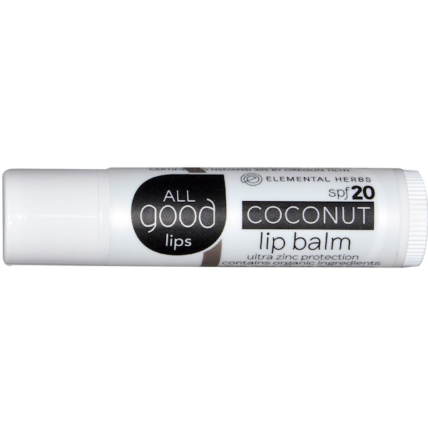 All Good Products, All Good Lips, Lip Balm, SPF 20, Coconut, 4.25 g (Discontinued Item)