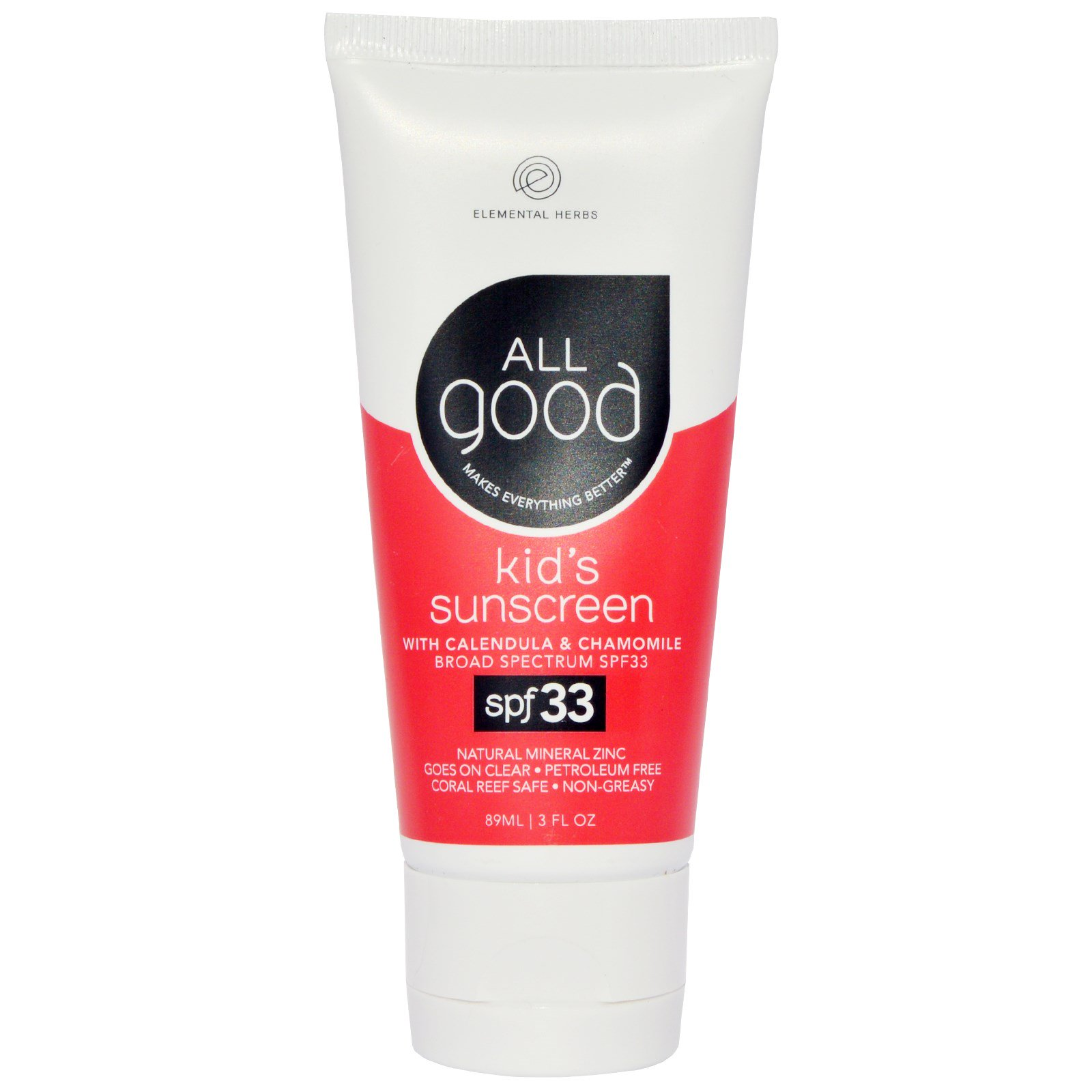 All Good Products, Солнцезащитное средство для детей, SPF 33, 3 жидких унции (89 мл)