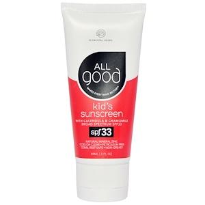 Ол Гуд Продактс, Kid's Sunscreen, SPF 33, 3 fl oz (89 ml) отзывы покупателей