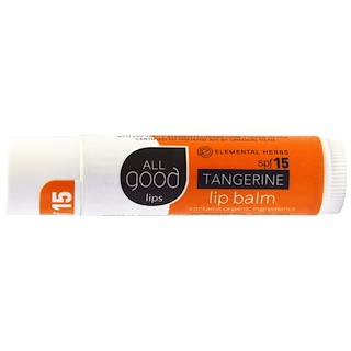 All Good Products, Todos los labios buenos, bálsamo para labios, FPS 15, mandarina, 4.25 g