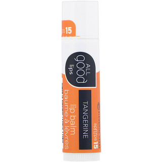 All Good Products, All Good Lips, Lip Balm, SPF 15, Tangerine, 4.25 g