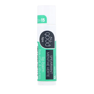 All Good Products, All Good Lips, Lip Balm, SPF 15, Spearmint, 4.25 g
