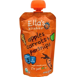 Ella's Kitchen, Apples Carrots + Parsnips, Super Smooth Puree, 3.5 oz (99 g)