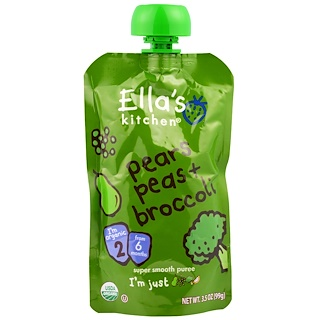 Ella's Kitchen, Super Smooth Puree, Pears, Peas + Broccoli, 3.5 oz (99 g)
