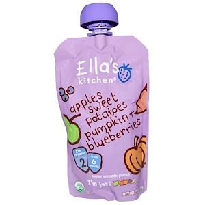 Ella's Kitchen, Органическое cупернежное пюре: яблоки, сладкий картофель, тыква и черника, 3,5 унции (99 г) инструкция, применение, состав, противопоказания