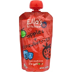 Ella's Kitchen, Apples + Strawberries, Super Smooth Puree, Stage 2, 3.5 oz (99 g)