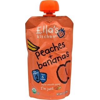 Ella's Kitchen, Super Smooth Puree, Peaches + Bananas, 3.5 oz (99 g)