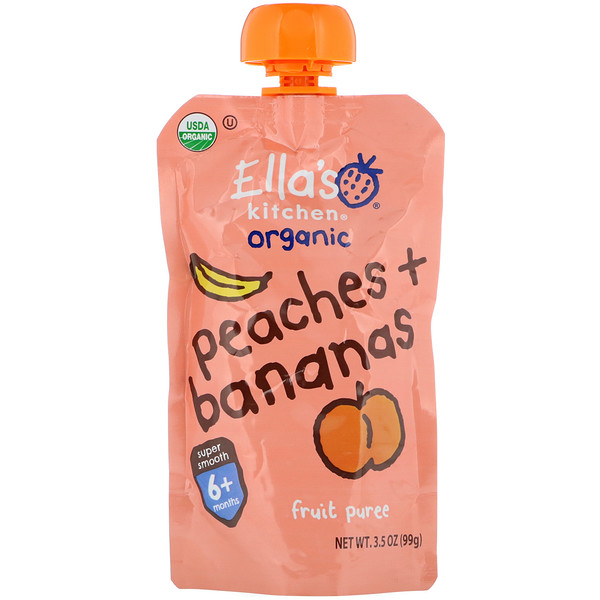 Ella's Kitchen, Super Smooth Fruit Puree, Peaches + Bananas, 3.5 oz (99 g) (Discontinued Item)