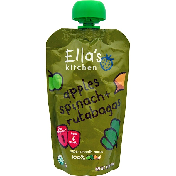 Ella's Kitchen, Apples, Spinach + Rutabagas, Stage 1, 3.5 oz (99 g) (Discontinued Item)