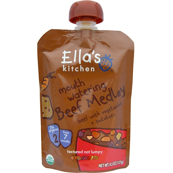 Ella's Kitchen, Mouth Watering Beef Medley, Beef with Vegetables + Potatoes, 4.5 oz (127 g)