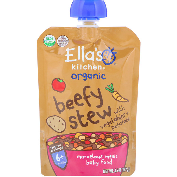 Ella's Kitchen, Organic, Beefy Stew with Vegetables + Potatoes, 4.5 oz (127 g)