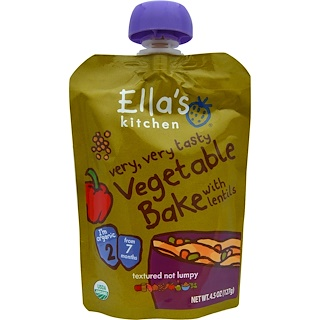Ella's Kitchen, Very, Very Tasty Vegetable Bake with Lentils, 4.5 oz (127 g)