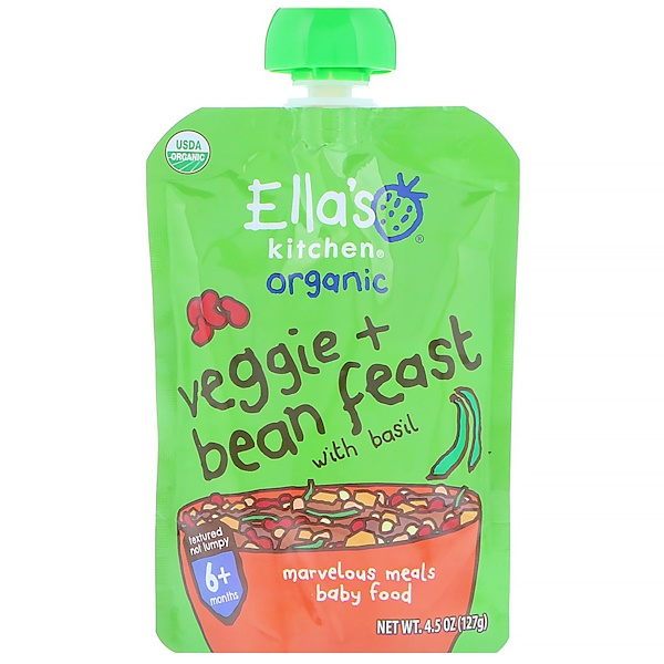 Ella's Kitchen, Organic, Veggie + Bean Feast with Basil, 4.5 oz (127 g) (Discontinued Item)