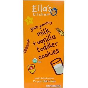 Ella's Kitchen, Детское печенье, молоко + ваниль, 12 упаковок, 9 г каждая инструкция, применение, состав, противопоказания