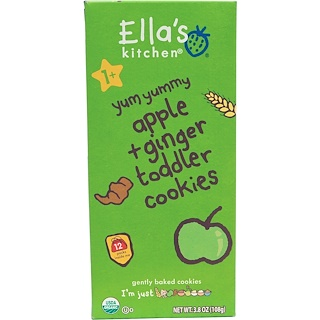 Ella's Kitchen, Toddler Cookies, Apple + Ginger, 12 Packs, 9 g Each