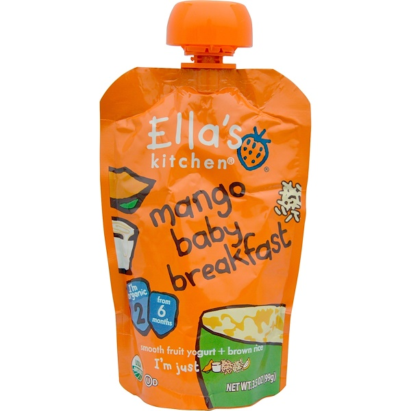 Ella's Kitchen, Mango Baby Breakfast, Smooth Fruit Yogurt + Brown Rice, 3.5 oz (99 g) (Discontinued Item)
