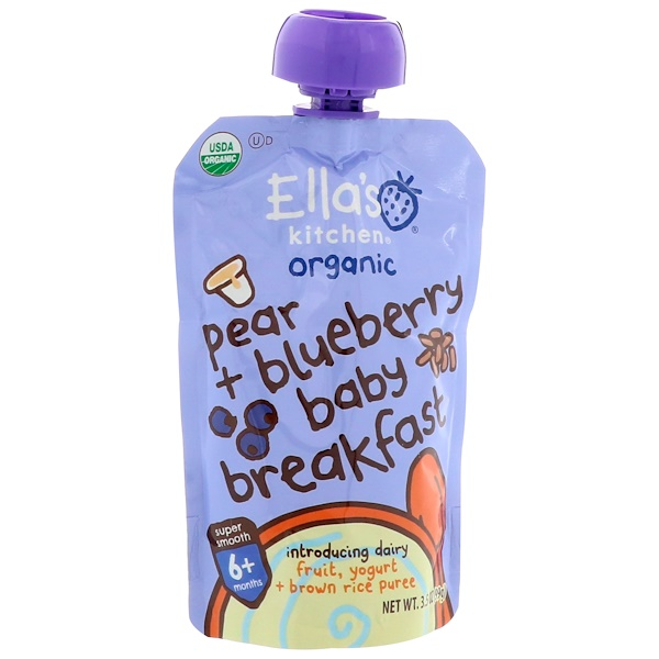 Ella's Kitchen, Pear + Blueberry Baby Breakfast, Introducing Dairy, 3.5 oz (99 g) (Discontinued Item)