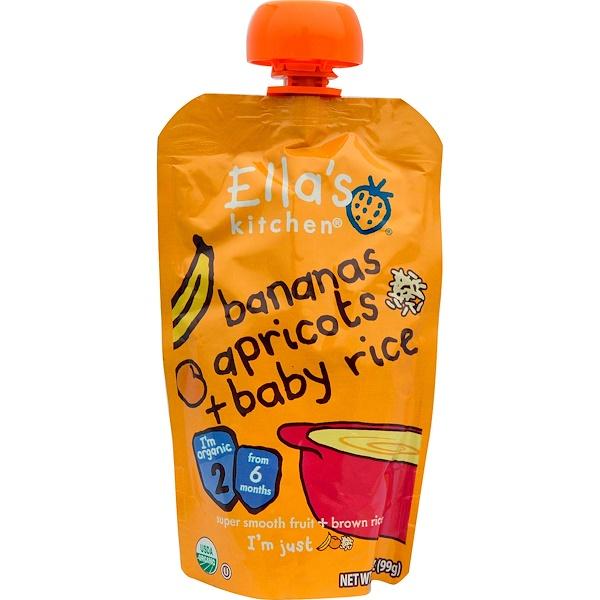 Ella's Kitchen, Бананы, абрикосы + рис для детей, стадия 2, 3,5 унции (99 г) (Discontinued Item)