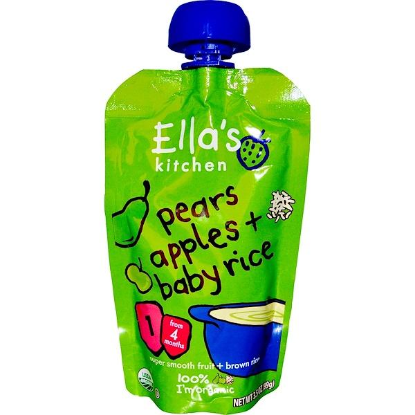 Ella's Kitchen, Груши, яблоки + детский рис, стадия 1, 3.5 унций (99 1)