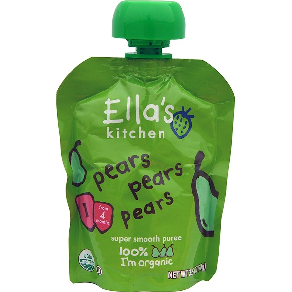 Ella's Kitchen, Pears Pears Pears, Super Smooth Puree, 2.5 oz (70 g) (Discontinued Item)