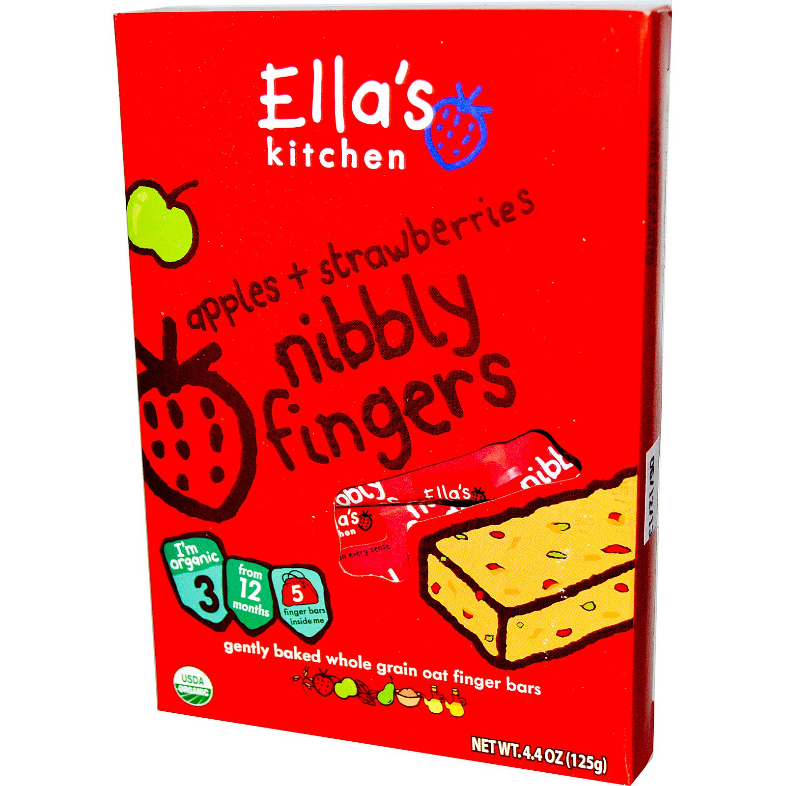 ellas kitchen nibbly fingers apples strawberries 5 bars - Ellas Kitchen