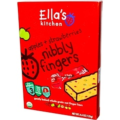 Ella's Kitchen, Nibbly Fingers, Apples + Strawberries, 5 Bars, 4.4 oz (125 g)