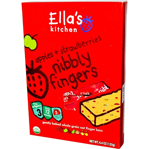 Ella's Kitchen, Nibbly Fingers, Apples + Strawberries, 5 Bars, 4.4 oz (125 g) (Discontinued Item)