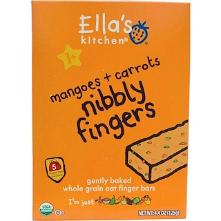 Ella's Kitchen, Nibbly Fingers, Mangoes + Carrots, 5 Bars, 4.4 oz (125 g)