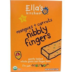 Ella's Kitchen, Хрустящие пальчики, манго + морковь, 5 батончиков, 4,4 унции (125 г) инструкция, применение, состав, противопоказания