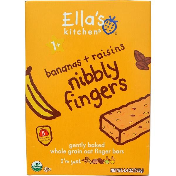 Ella's Kitchen, Nibbly Fingers, Bananas + Raisins, 5 Bars, 4.4 oz (8 g) Each (Discontinued Item)