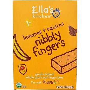 Ella's Kitchen, Nibbly Fingers, Bananas + Raisins, 5 Bars, 4.4 oz (125 g) инструкция, применение, состав, противопоказания