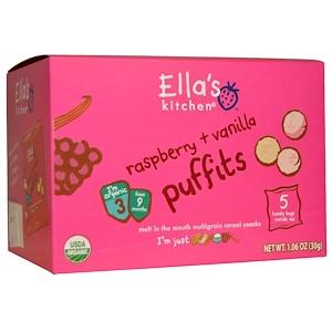 Ella's Kitchen, Малиновые печенья с ванилью, 5 удобных пакетиков, 1.06 унций (30 г) инструкция, применение, состав, противопоказания