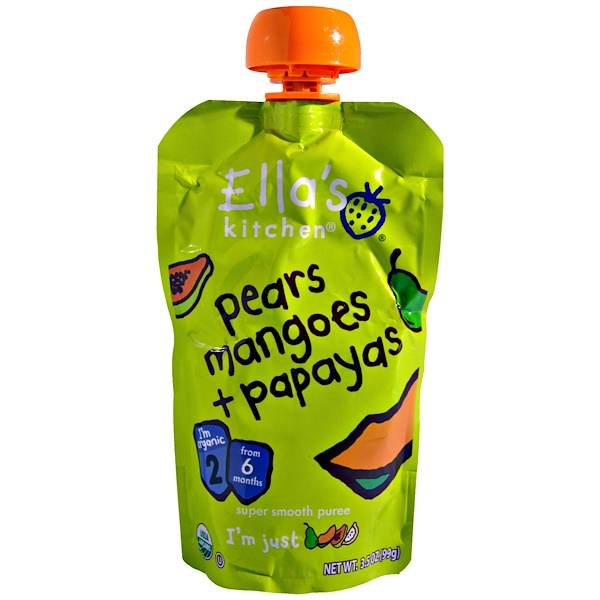 Ella's Kitchen, Super Smooth Puree, Organic Pears Mangoes + Papayas, 3.5 oz (99 g)