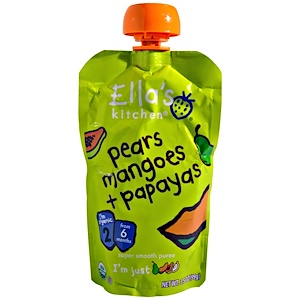 Ella's Kitchen, Сверх-нежное пюре, органические груши, манго и папайя, 3,5 oz (99 г) инструкция, применение, состав, противопоказания