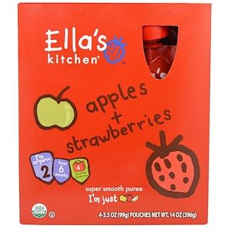 Ella's Kitchen, Apples, Strawberries, Super Smooth Puree, Stage 2, 4 Pouches, 3.5 oz (99 g) Each