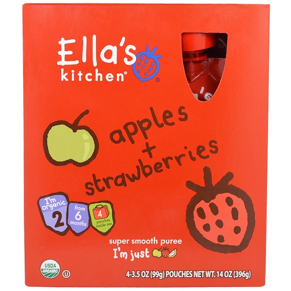Ella's Kitchen, Apples, Strawberries, Super Smooth Puree, Stage 2, 4 Pouches, 3.5 oz (99 g) Each (Discontinued Item)
