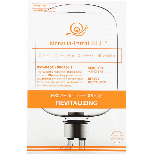 Elensilia-IntraCELL, Escargot + Propolis Revitalizing Mask, 10 Sheets, 0.85 fl oz (25 ml) Each