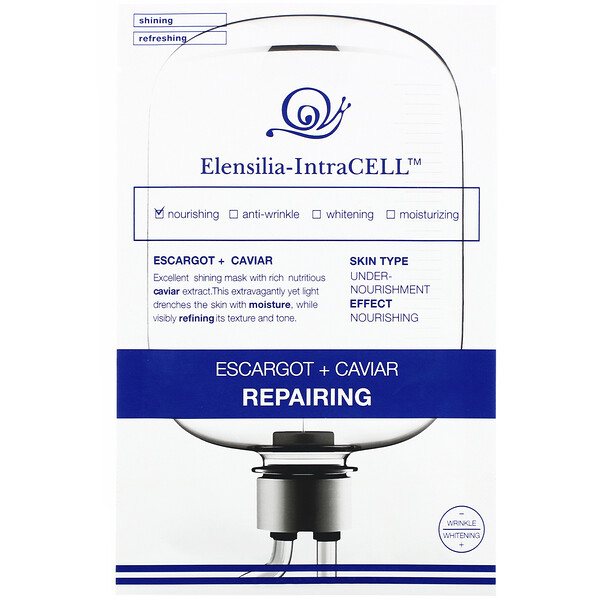 Elensilia-IntraCELL, Escargot + Caviar Repairing Mask, 10 Sheets, 0.85 fl oz (25 ml) Each