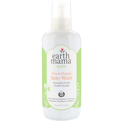 Earth Mama Baby, Sweet Orange Baby Wash, Vanilla Orange, 34 fl oz (1 l)