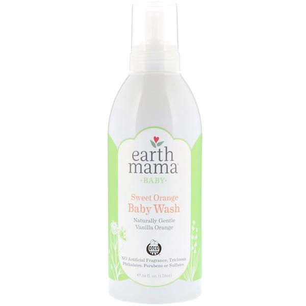 Earth Mama, Baby, Sweet Orange Baby Wash, Vanilla Orange, 34 fl oz (1 l)