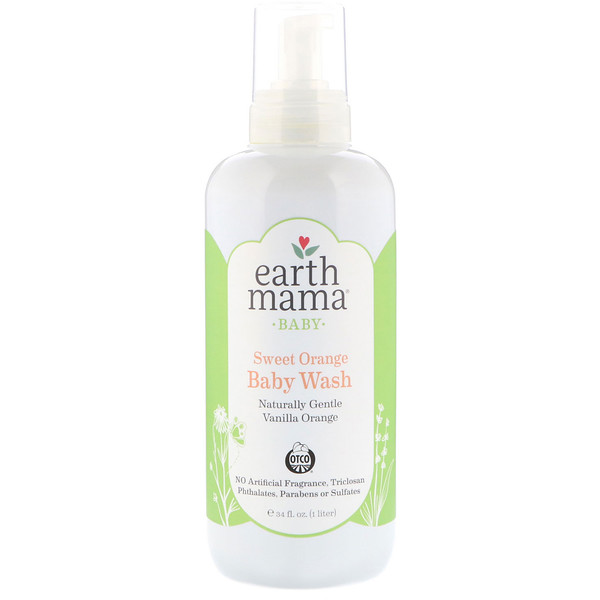 Earth Mama, Baby, Sweet Orange Baby Wash,  Vanilla Orange, 34 fl oz (1 l) (Discontinued Item)