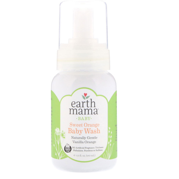 Earth Mama, Baby, Sweet Orange Baby Wash, Vanilla Orange, 5.3 fl oz (160 ml)