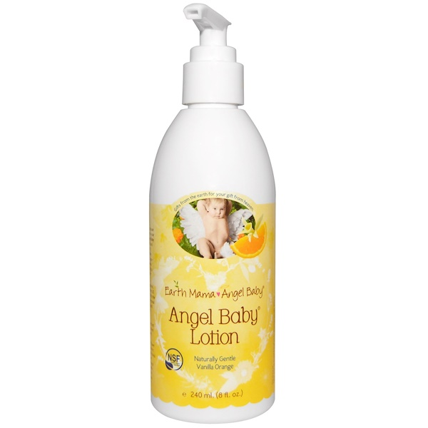 Earth Mama Angel Baby, Angel Baby Lotion, Natural Vanilla Orange, 8 fl oz (240 ml)