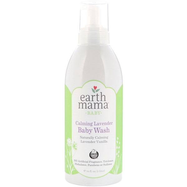 Earth Mama, Calming Lavender Baby Wash, Lavender Vanilla, 34 fl oz (1 L) (Discontinued Item)