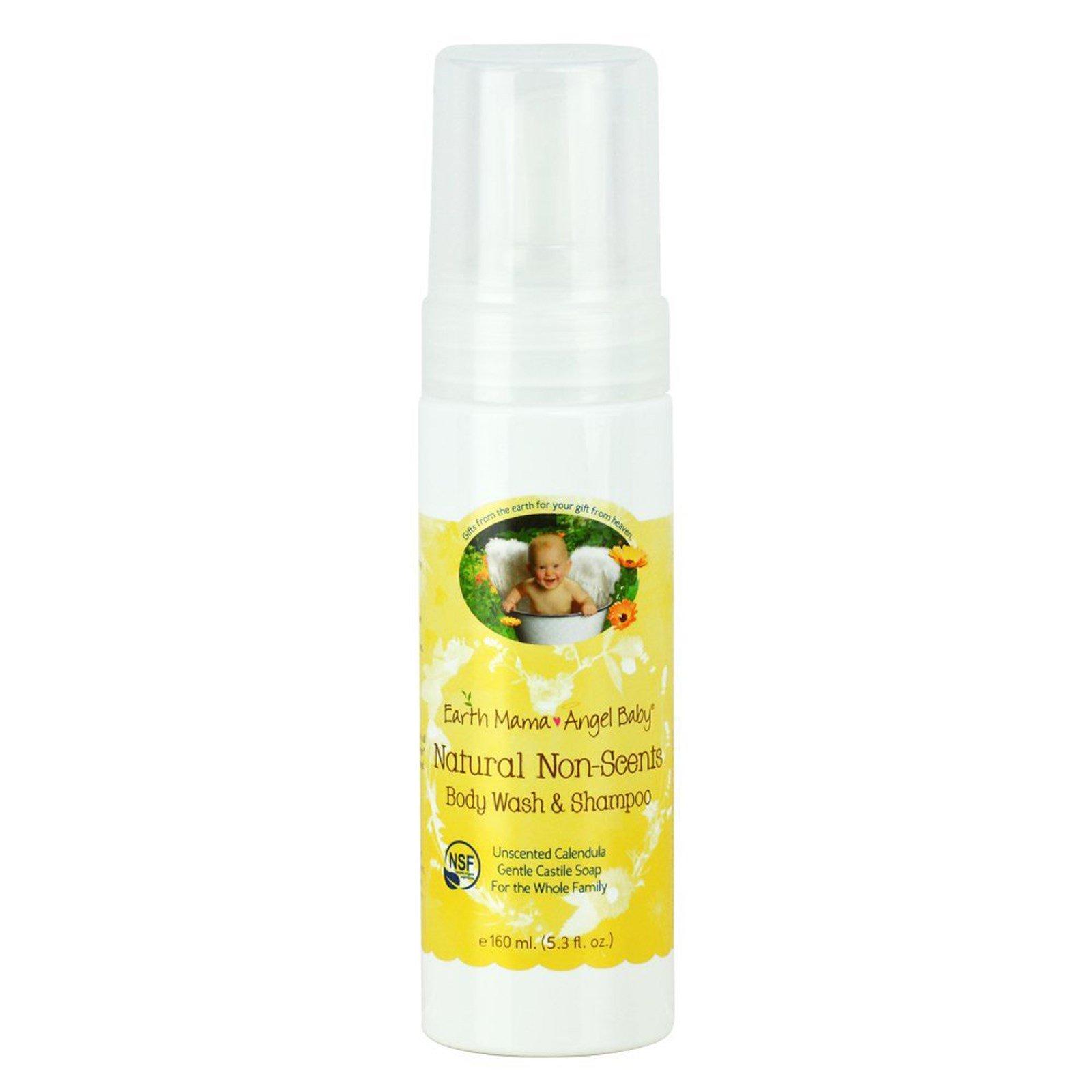 Earth Mama Angel Baby, Натуральный шампунь и гель для душа без запаха, календула без запаха, 5.3 жидких унции (160 мл)