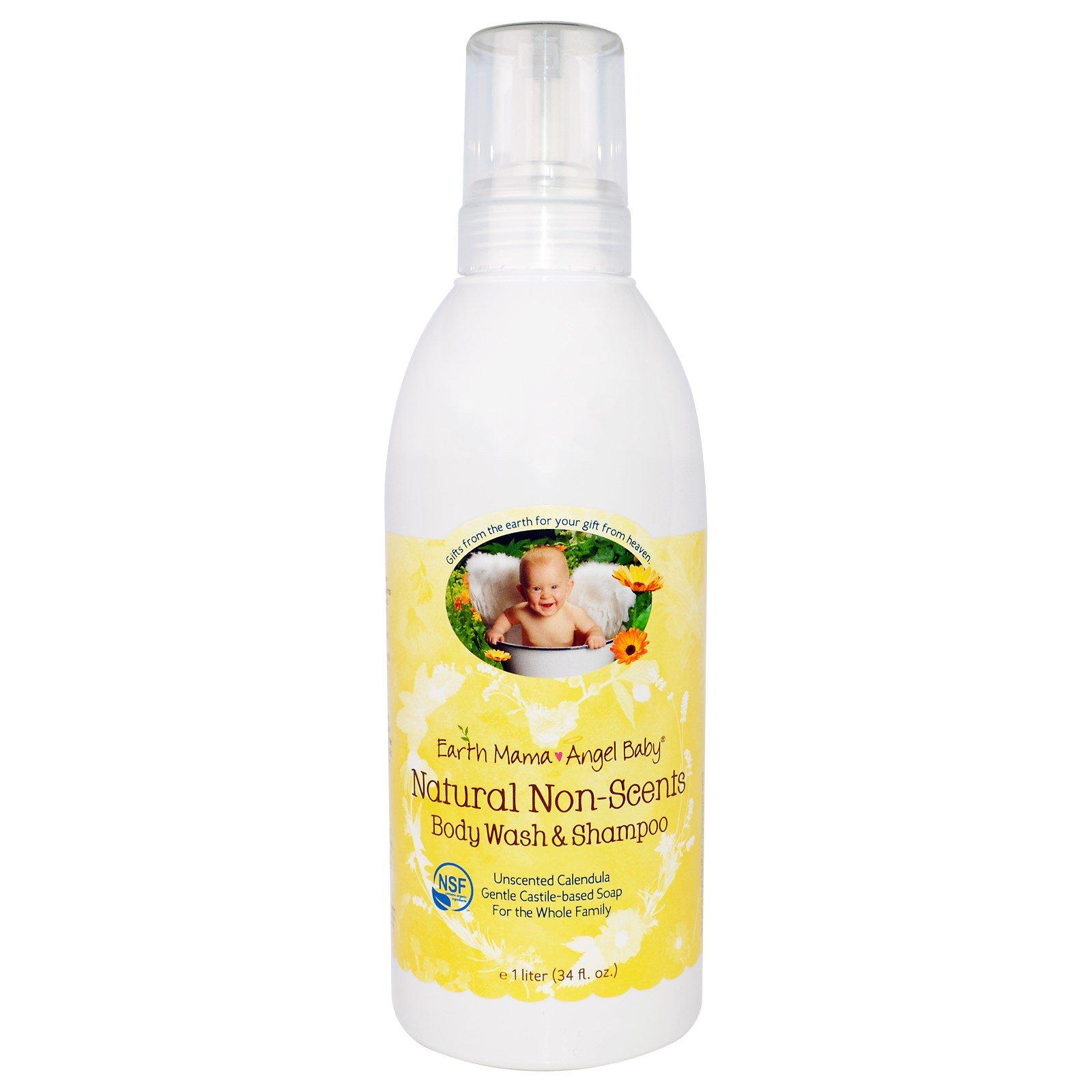 Earth Mama Angel Baby, Натуральный шампунь и гель для душа без запаха, календула без запаха, 34 жидкие унции (1 л)