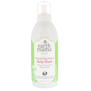 Earth Mama, Baby, Natural Non-Scents Baby Wash, Unscented, 34 fl oz (1 L)