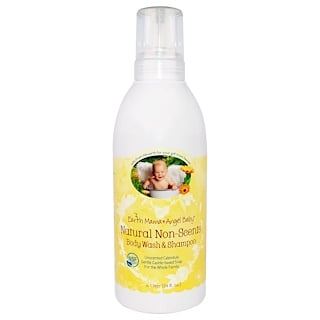 Earth Mama Angel Baby, Natural Non-Scents Shampoo & Body Wash, Unscented Calendula, 34 fl oz (1 L)