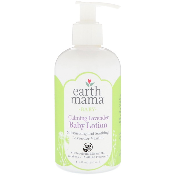 Earth Mama, Baby, Calming Lavender Baby Lotion, Lavender Vanilla, 8 fl oz (240 ml) (Discontinued Item)